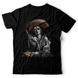 Camiseta Pistoleira Caveira Mexicana