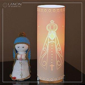 Kit Luminária de mesa decorativa - Nossa Senhora com Amigurumi