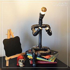 Luminária de mesa decorativa - Robô Articulável - Chumbo