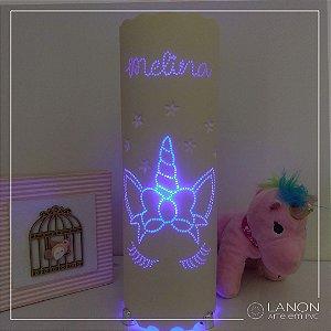 Luminária de mesa decorativa - Unicórnio Minimalista - Azul