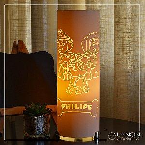 Luminária de mesa decorativa - Patrulha Canina (Marhsal, Rubble, Zuma)