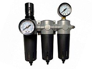 "Conjunto Com 3 Filtros e Regulador de Pressão Industrias Para Ar Comprimido 1/4"" - Werk Schott"