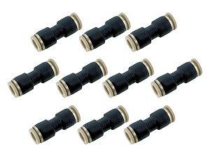 Kit Com 10 Conexões Engate Rápido Pneumática União Reta Mangueira 8mm – Werk Shott