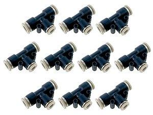 Kit Com 10 Conexões Engate Rápido Pneumática União Em Te Mangueira 12mm – Werk Shott