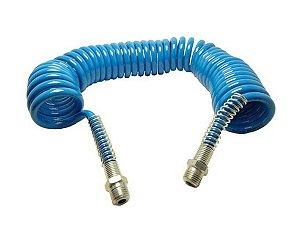 Mangueira Azul Espiral Retrátil Poliuretano 5 Metros Com Encaixe 1/4 - Schweers