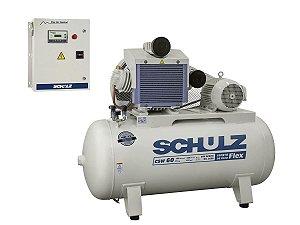 Compressor De Ar Schulz Odontológico Csw 60/420 Isento De Óleo Com Inversor de Frequência - 60 Pés 420 Litros  380v