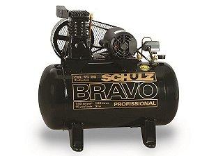 COMPRESSOR DE AR SCHULZ - CSL 15BR/100 BRAVO - 15 PES 100 LITROS 140 LIBRAS 220/380V TRIF