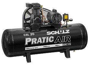 COMPRESSOR DE AR SCHULZ - CSL 20/150 PRATIC AIR - 20 PES 150 LITROS 220V MONO