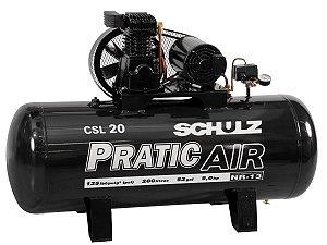 COMPRESSOR DE AR SCHULZ - CSL 20/200 PRATIC AIR - 20 PES 200 LITROS 220/380V TRIFASICO