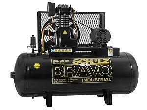 COMPRESSOR DE AR SCHULZ - CSL 20BR/200 BRAVO - 20 PES 200 LITROS 175 LIBRAS 380/660V TRIF