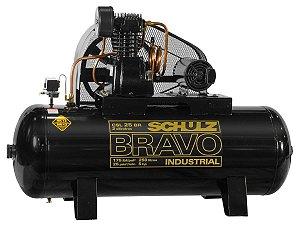 COMPRESSOR DE AR SCHULZ - CSL 25BR/250 BRAVO - 25 PES 250 LITROS 175 LIBRAS 380/660V TRIF