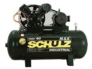 COMPRESSOR DE AR SCHULZ - MSV 40/350 MAX - 40 PES 350 LITROS 175 LIBRAS 220/380/440/760V TRIF