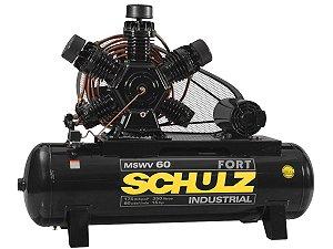 COMPRESSOR DE AR SCHULZ - MSWV 60/350 FORT - 60 PES 350 LITROS 175 LIBRAS 380/660V TRIF (MOTOR ABERTO)