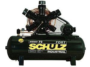COMPRESSOR DE AR SCHULZ - MSWV 72/425 FORT - 72 PES 425 LITROS 100 LIBRAS CONTINUO 220/380V TRIF (MOTOR BLINDADO)