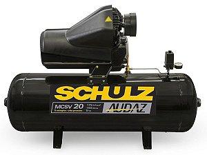 MOTOCOMPRESSOR DE AR SCHULZ - MCSV 20/150 AUDAZ - 20 PES 150 LITROS 175 LIBRAS 220/380V TRIF