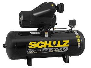 MOTOCOMPRESSOR DE AR SCHULZ - MCSV 20/200 AUDAZ - 20 PES 200 LITROS 175 LIBRAS 220/380V TRIF