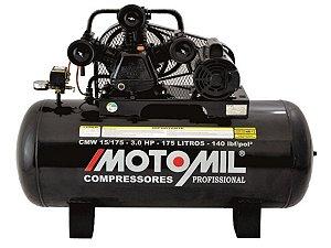 COMPRESSOR DE AR MOTOMIL - CMW-15/175I - 15 PÉS 175 LITROS 140 LIBRAS 220/380V TRIF