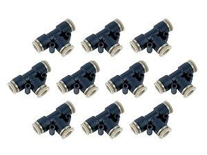 Kit com 10 Conexões Engate Rápido União em T 8mm - Werk Schott
