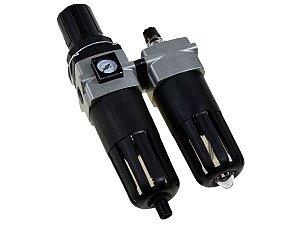 """Filtro Regulador e Lubrificador de Ar com Manômetro Embutido  1/2"""" - Werk Schott"""