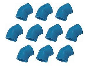 Kit Com 10 Peças - Joelho 45° Azul Ppr Para Ar Comprimido Topfusion Ø 25mm