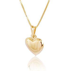 Colar coração folheado a ouro