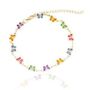 Pulseira borboletas de zircônias colorida folheada a ouro