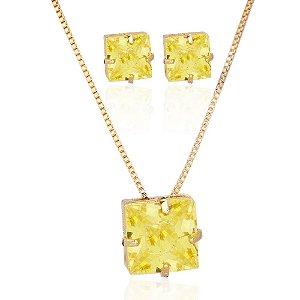 Conjunto colar e brinco de zircônia amarela folheado a ouro