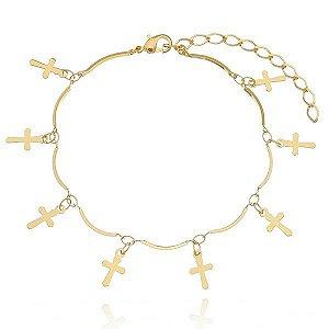 Pulseira Crucifixos folheada a ouro
