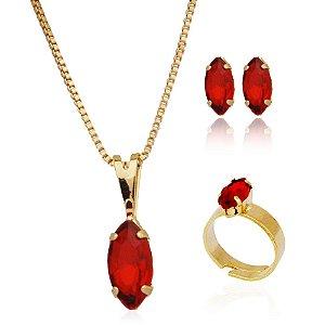 Conjunto colar brinco e anel navete vermelho infantil folheado a ouro