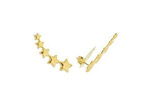 Brinco ear cuff estrelas dourado folheado a ouro
