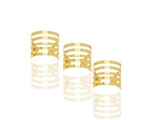 Trio de anéis gladiador reguláveis folheados em ouro