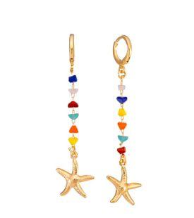 Brinco argolinha estrela do mar e miçangas folheado a ouro