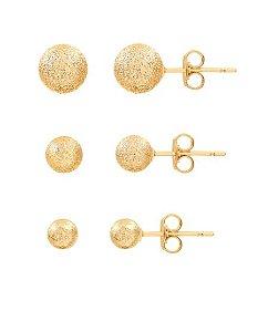 Kit brincos bolinhas foscas folheados em ouro