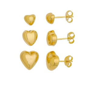 Trio de brinco coração folheado em ouro