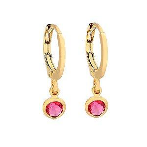 Brinco argolinha pedra rosa folheada em ouro