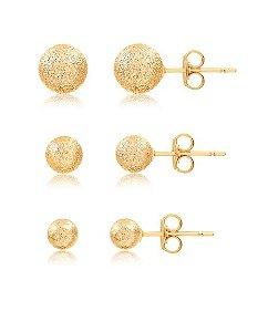 Trio de brincos de bolinha fosca folheados em ouro