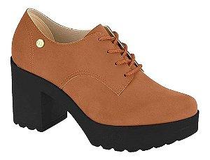 Sapato Feminino Moleca Oxford Tratorado Salto Alto Marrom