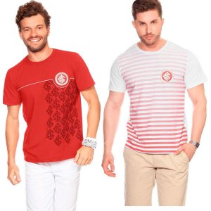 kit 2 Camiseta Internacional Casual Masculina Licenciada Promoção