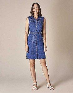 Vestido Chemisie Scalon Jeans Com Cinto Para Amarração na Cintura