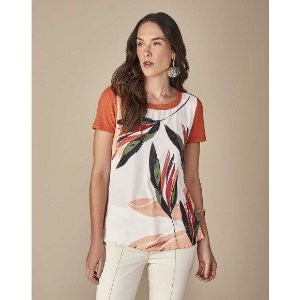 T-shirt de malha com mangas curtas estampadas
