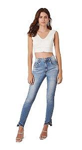 Calca Slim Cropped  Cos Intermediario Barra Diferenciada Jeans