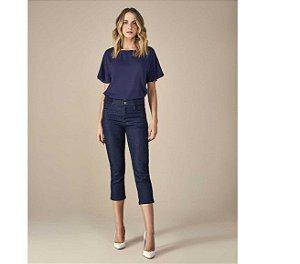 calça jeans cropped com cós de tricot