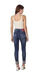Calca Slim Cropped Isadora Cos Alto Com Cadarco Jeans