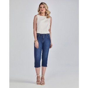 Calça Scalon Jeans Cropped Com Tranças No Cós