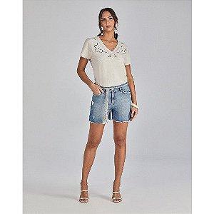 Shorts Scalon Jeans Boyfriend Com Barra Desfiada