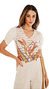 T-Shirt Morena Rosa Decote V Com Sublimação Laranja