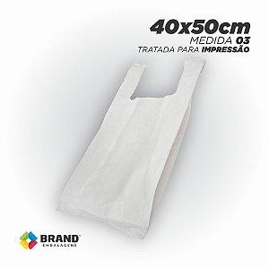Sacola Branca (Alça Camiseta) - Tratada para impressão Silk | 40x50 - 350 Unid.
