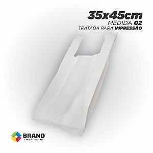 Sacola Branca (Alça Camiseta) - Tratada para impressão Silk | 35x45 - 450 Unid.