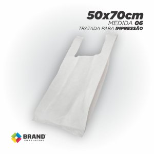 Sacola Branca (Alça Camiseta) - Tratada para impressão Silk | 50x70 - 150 Unid.