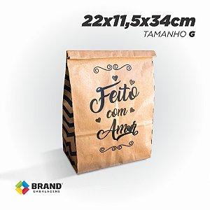 Saco Kraft Delivery - Feito com Amor - Tamanho G | 200unid.